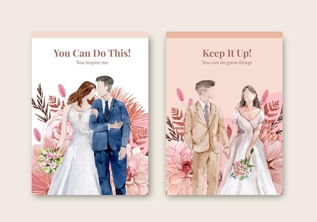 Carte de mariage dans un style aquarelle