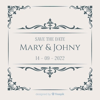 Carte de mariage de date de sauvegarde d'ornement