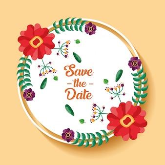 Carte de mariage de la date