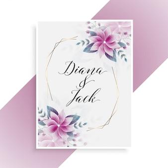 Carte de mariage avec décoration florale