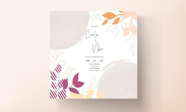 Carte de mariage design floral plat avec feuille d'or