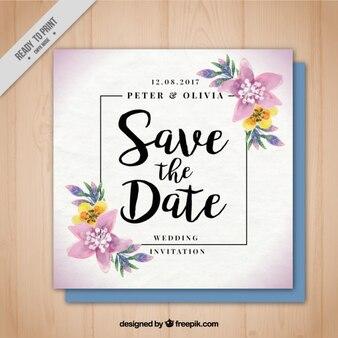 Carte de mariage avec des détails floraux