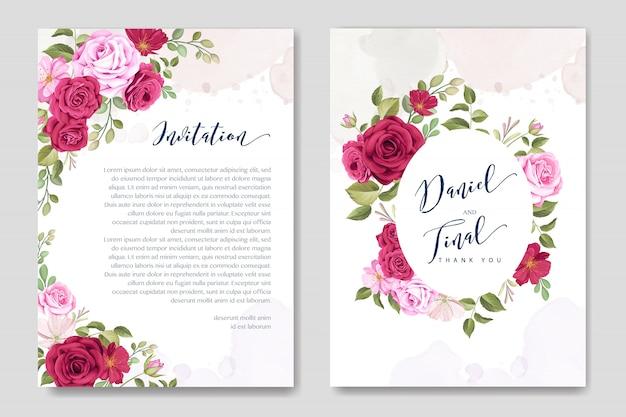 Carte de mariage élégant avec modèle floral et feuilles