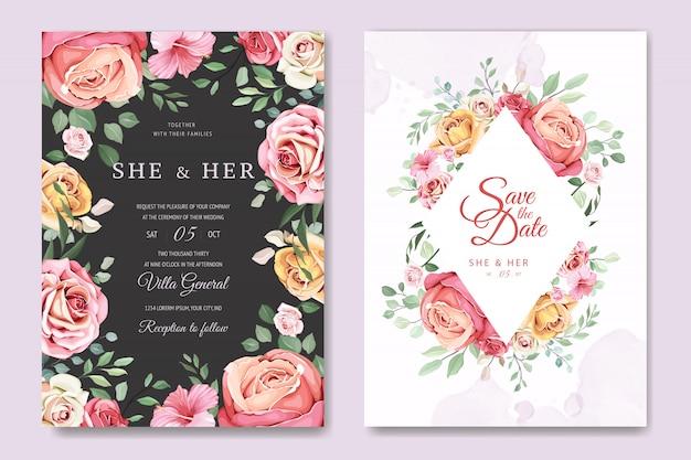 Carte de mariage avec élégant modèle floral et feuilles