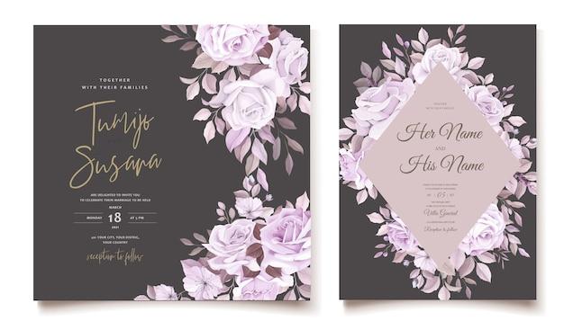 Carte de mariage élégante avec beau modèle floral et feuilles