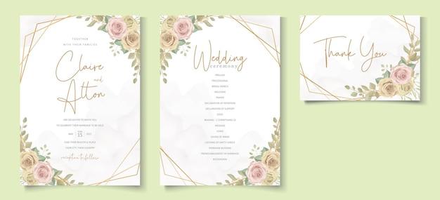 Carte de mariage élégante avec de belles roses