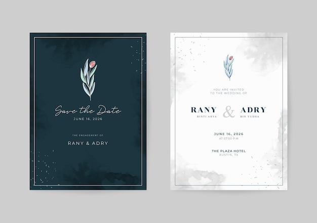 Carte de mariage élégante en noir et blanc