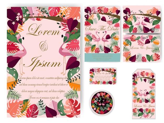 Carte de mariage et étiquette de feuilles colorées
