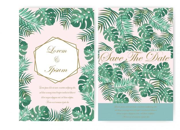 Carte de mariage et étiquette de verdure