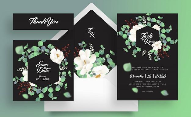 Carte de mariage eucalyptus et enveloppe sur fond noir