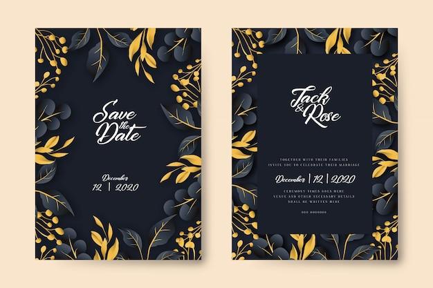 Carte de mariage de feuilles dorées bleu marine foncé