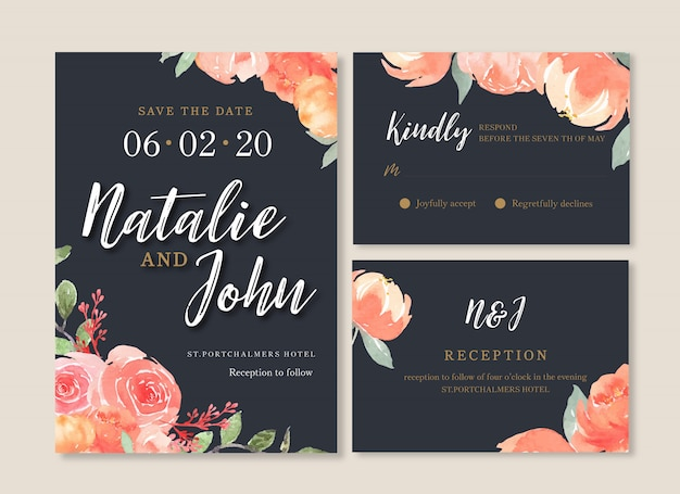 Carte de mariage fleur aquarelle, carte de remerciement, illustration mariage invitation