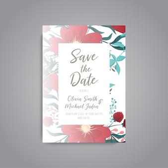 Carte de mariage avec fleur rose