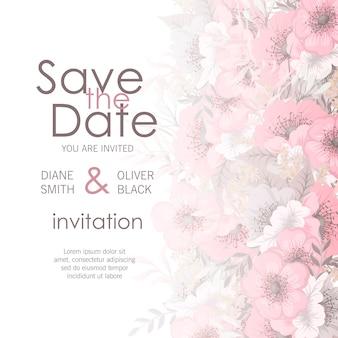 Carte de mariage avec fleur