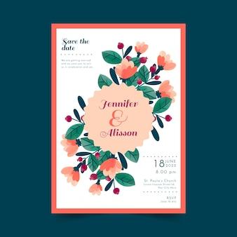 Carte de mariage avec des fleurs dessinées à la main
