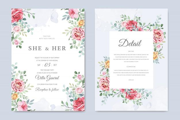 Carte de mariage avec fleurs et feuilles d'ornement