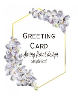 Carte de mariage avec des fleurs d'hortensia au printemps