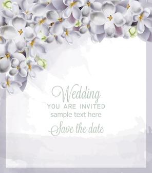 Carte de mariage fleurs d'hortensia