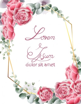 Carte de mariage avec des fleurs roses