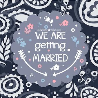 Carte de mariage de fleurs de style