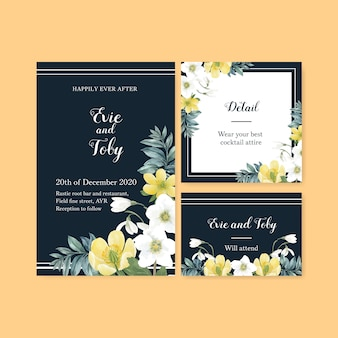 Carte de mariage de floraison hivernale avec fleurs, feuillages