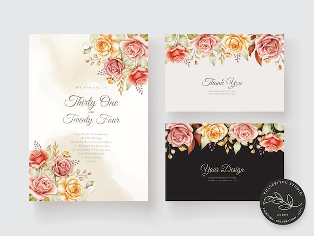 Carte de mariage floral aquarelle dessinée à la main