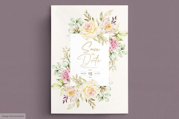 Carte de mariage floral aquarelle romantique