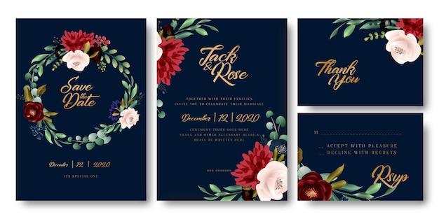 Carte de mariage floral bleu marine et doré