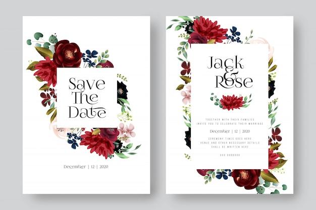 Carte de mariage floral bourgogne et fard à joues