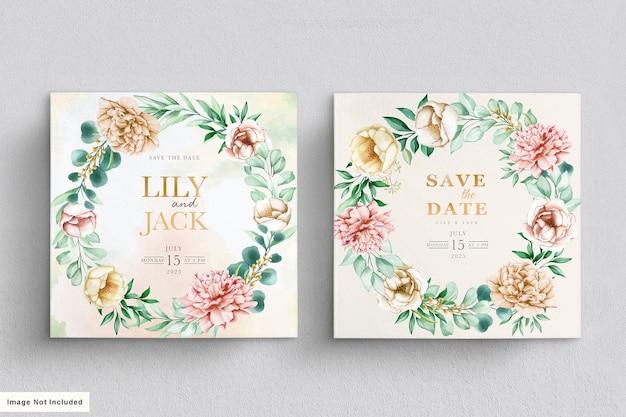 Carte de mariage floral dessiné dur aquarelle