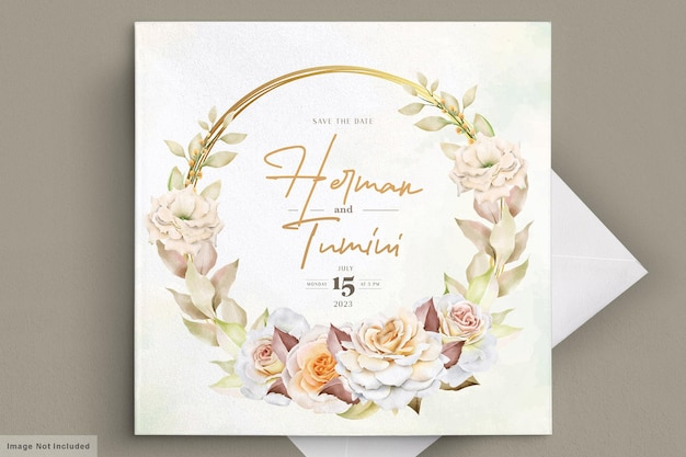 Carte de mariage floral dessiné à la main romantique