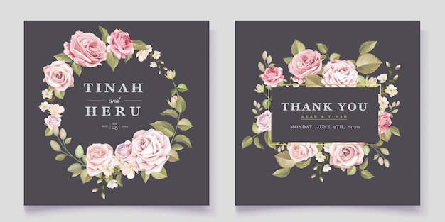 Carte de mariage floral élégant