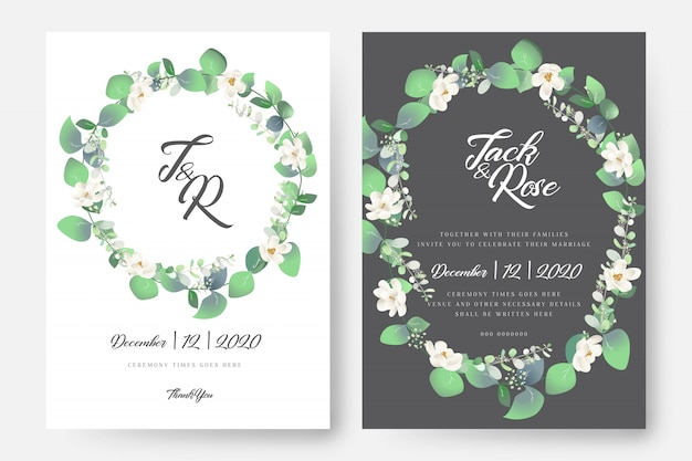Carte de mariage floral d'eucalyptus