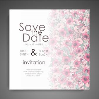 Carte de mariage floral avec une fleur colorée