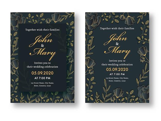Carte de mariage floral, modèle ou ensemble de conception de flyer avec détails du lieu.