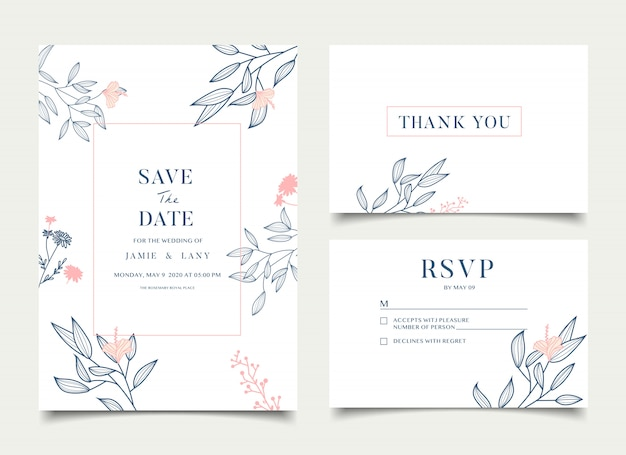 Carte de mariage floral simple