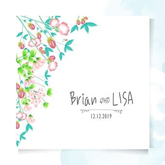 Carte de mariage floral vintage dans un style aquarelle.
