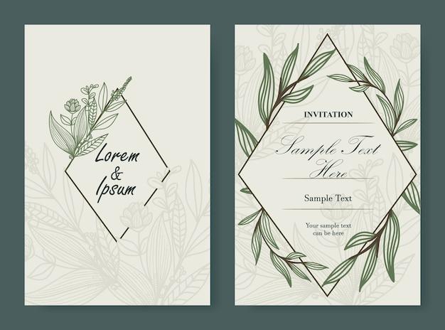 Carte De Mariage Floral Vecteur Premium