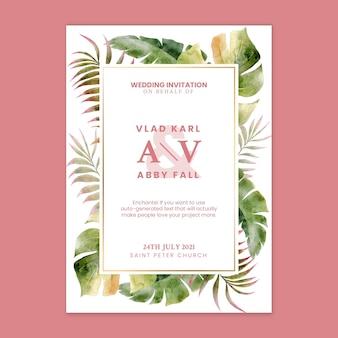 Carte de mariage floral