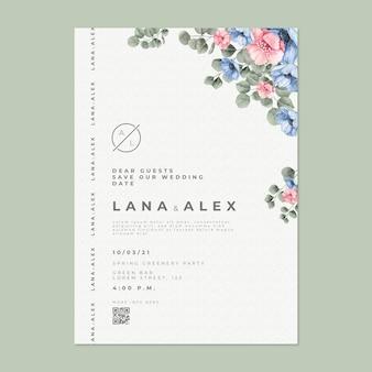 Carte De Mariage Florale Vecteur gratuit