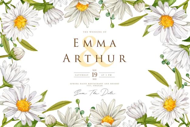 Carte de mariage fond aquarelle fleur blanche
