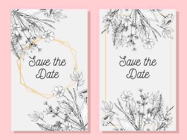 Carte de mariage ou invitation avec fleur et cadre
