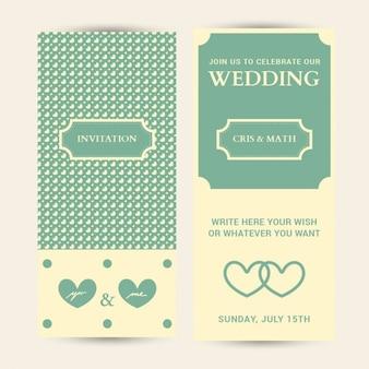 Carte de mariage invitation modifiable avec des coeurs de fond
