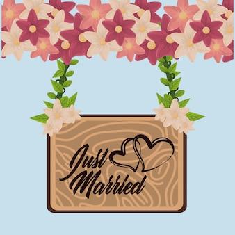 Carte de mariage juste mariée