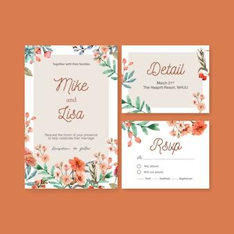 Carte de mariage de lueur de braise florale de style vintage avec illustration aquarelle oeillet.
