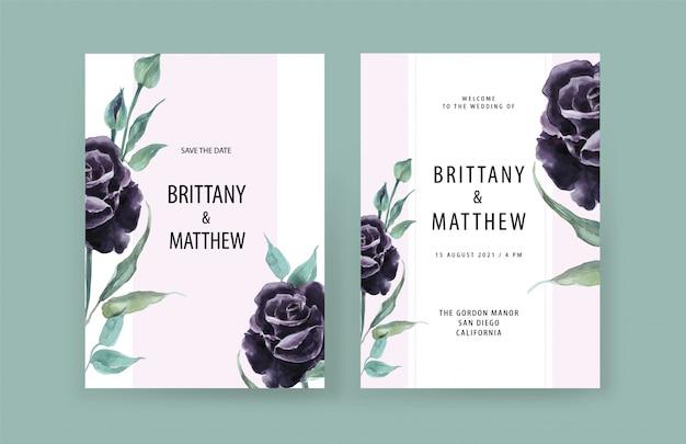 Carte de mariage de luxe avec des fleurs de croquis dorés, des feuilles. modèle de carte de mariage.