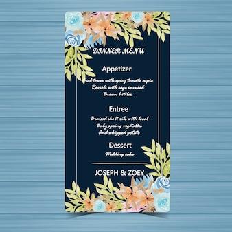 Carte de mariage menu floral avec belle fleur cadre