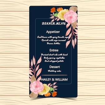 Carte de mariage menu floral avec des fleurs d'automne