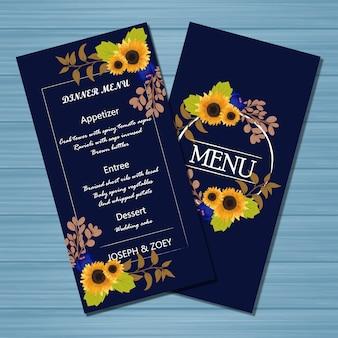 Carte de mariage menu floral avec des fleurs et des feuilles d'automne