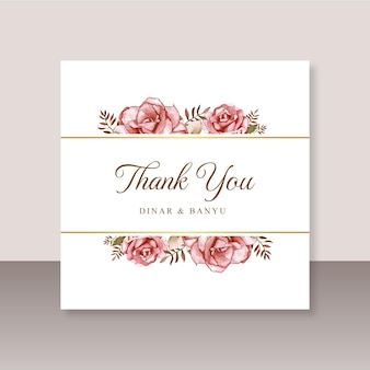 Carte de mariage merci avec aquarelle rose rouge